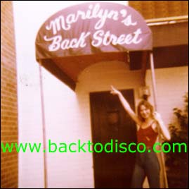 "The Marilyn's Backstreet Disco entrance located on the rear of the building, thus the ""backstreet"" slogan."