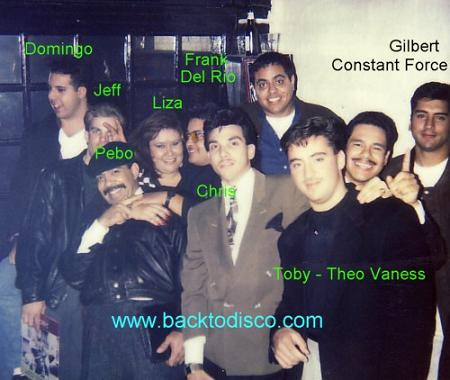 Gilbert Guzman with prominent DJs of Los Angeles in the mid 80s.